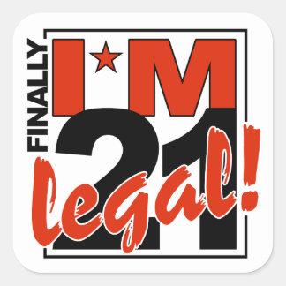 21 y pegatinas LEGALES Pegatina Cuadrada