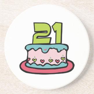 21 Year Old Birthday Cake Drink Coaster