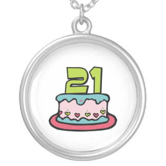 21 Year Old Birthday Cake Silver Plated Necklace