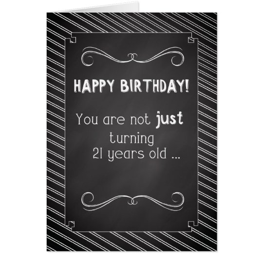 21 Year Old Happy Birthday, Chalkboard Look Card