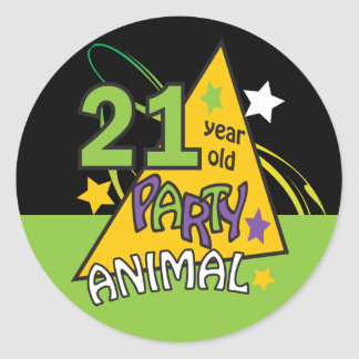 21 Year Old Party Animal | 21st Birthday Classic Round Sticker