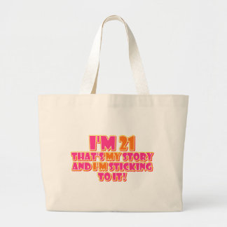 21 Years Old Large Tote Bag