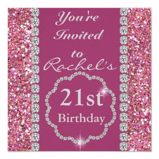 21ra BLING invitación ROSADA del cumpleaños del Invitación 13,3 Cm X 13,3cm