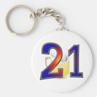 21ra cerveza del cumpleaños llavero personalizado