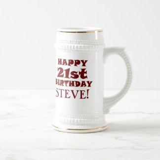21ra cerveza feliz de encargo Stein del cumpleaños Jarra De Cerveza
