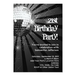"""21ra fiesta de cumpleaños de la bola de discoteca invitación 5"""" x 7"""""""
