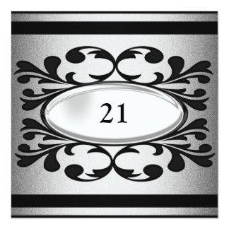 21ra fiesta de cumpleaños de la plata floral negra invitación 13,3 cm x 13,3cm