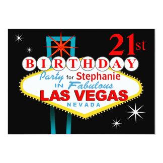"""21ra fiesta de cumpleaños de Las Vegas Invitación 5"""" X 7"""""""