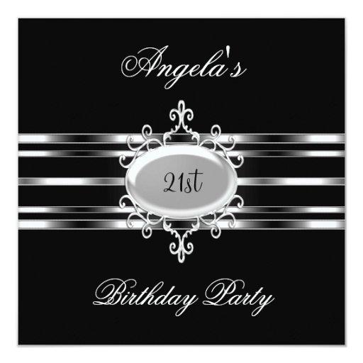 """21ra fiesta de cumpleaños elegante de la joya de invitación 5.25"""" x 5.25"""""""