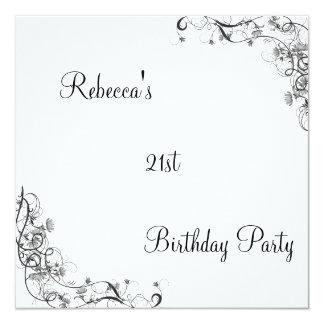 """21ra fiesta de cumpleaños floral Wispy negra Invitación 5.25"""" X 5.25"""""""