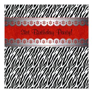 21ra invitación del cumpleaños del terciopelo rojo
