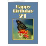 21ra mariposa de monarca feliz del cumpleaños tarjetón