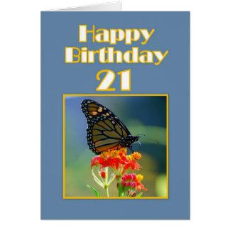 21ra mariposa de monarca feliz del cumpleaños tarjeta de felicitación