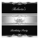 21ra plata elegante 21 del negro de la fiesta de c invitaciones personales