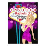 21ra púrpura de la fiesta de cumpleaños de Las Anuncio Personalizado