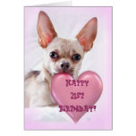 21ra tarjeta de felicitación feliz de la chihuahua