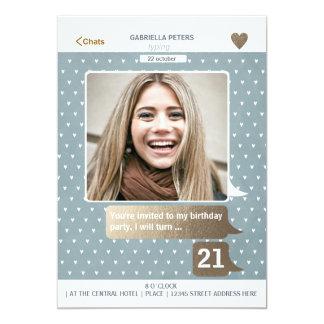 """21ra tarjeta de la foto de la mujer el   del invitación 5"""" x 7"""""""