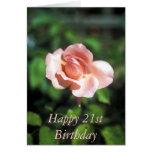 21ra tarjeta feliz de la flor del cumpleaños