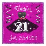 21ras invitaciones felices de la fiesta de invitación 13,3 cm x 13,3cm
