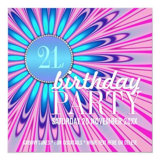 """21ras invitaciones maravillosas azules rosadas de invitación 5.25"""" x 5.25"""""""