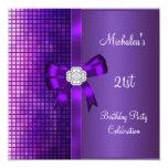 21ro Arco púrpura del diamante de las lentejuelas Invitación Personalizada