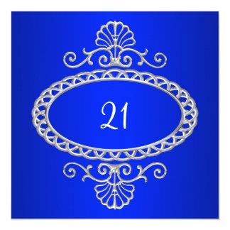21ro Azul y metal plateado de cobalto del Anuncio