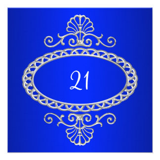 21ro Azul y metal plateado de cobalto del cumpleañ Anuncio