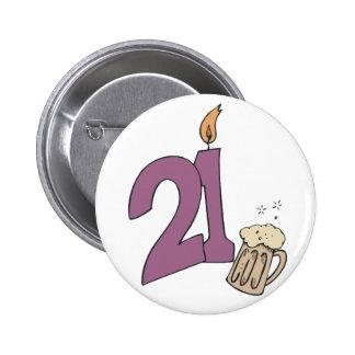 21ro Bebidas del cumpleaños Pin Redondo De 2 Pulgadas