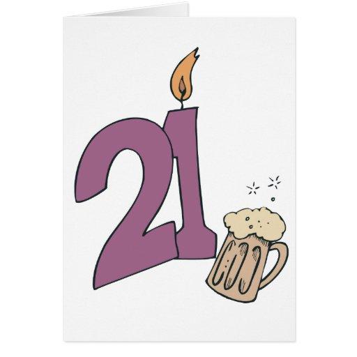 21ro Bebidas del cumpleaños Tarjeta De Felicitación