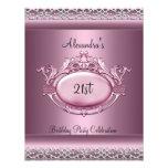 21ro borde de plata elegante del rosa del satén de invitación personalizada