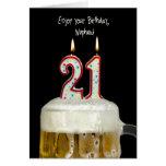 21ro Cerveza del cumpleaños para el sobrino Tarjeta