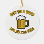 21ro Cerveza divertida del cumpleaños Adorno De Navidad