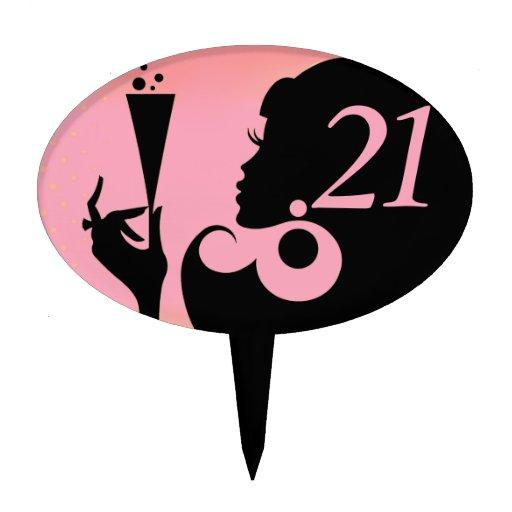 21ro Chica del cóctel de la fiesta de cumpleaños - Decoración Para Tarta