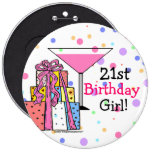 21ro chica grande del cumpleaños pin redondo 15 cm