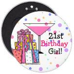 21ro chica grande del cumpleaños pin redondo de 6 pulgadas