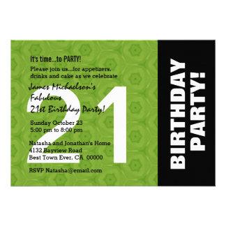 21ro Color lateral horizontal moderno de la fiesta Invitaciones Personales