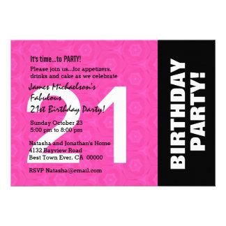 21ro Color lateral horizontal moderno de la fiesta Invitacion Personal