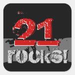 ¡21ro cumpleaños - 21 rocas! Grunge rojo y negro Calcomanías Cuadradas Personalizadas