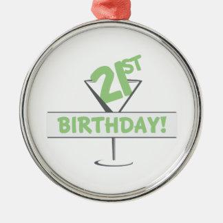 21ro ¡Cumpleaños! Adorno Navideño Redondo De Metal