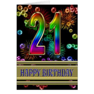 21ro Cumpleaños con las burbujas y los fuegos arti Felicitacion