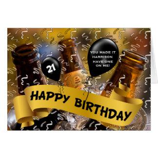 21ro cumpleaños - cubo de personalizado de la tarjeta de felicitación