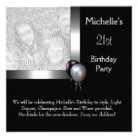 21ro cumpleaños de la foto de la plata del globo e comunicado personal