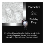 21ro cumpleaños de la foto de la plata del globo invitación 13,3 cm x 13,3cm