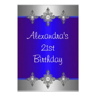21ro cumpleaños de la joya de plata azul elegante comunicado personal