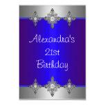 21ro cumpleaños de la joya de plata azul elegante invitación 8,9 x 12,7 cm