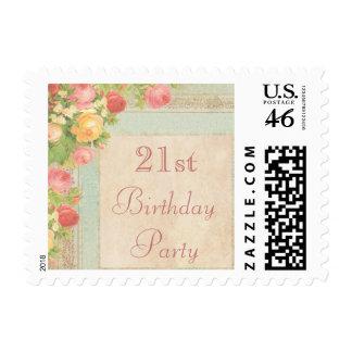 21ro cumpleaños de los rosas elegantes del vintage franqueo