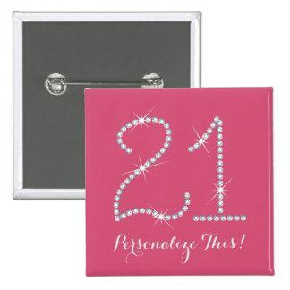 21ro cumpleaños del falso diamante artificial pin cuadrado