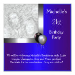 21ro cumpleaños del globo de plata azul elegante invitación 13,3 cm x 13,3cm