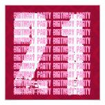 21ro cumpleaños del Grunge rosado y rojo para su Invitación 13,3 Cm X 13,3cm