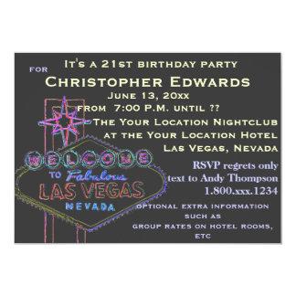 """21ro Cumpleaños en Las Vegas para el varón Invitación 5"""" X 7"""""""